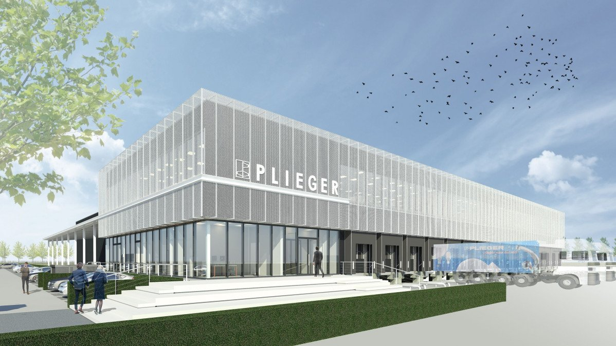 Impressie nieuwbouw distributiecentrum Plieger ontwerp Habeon Architecten