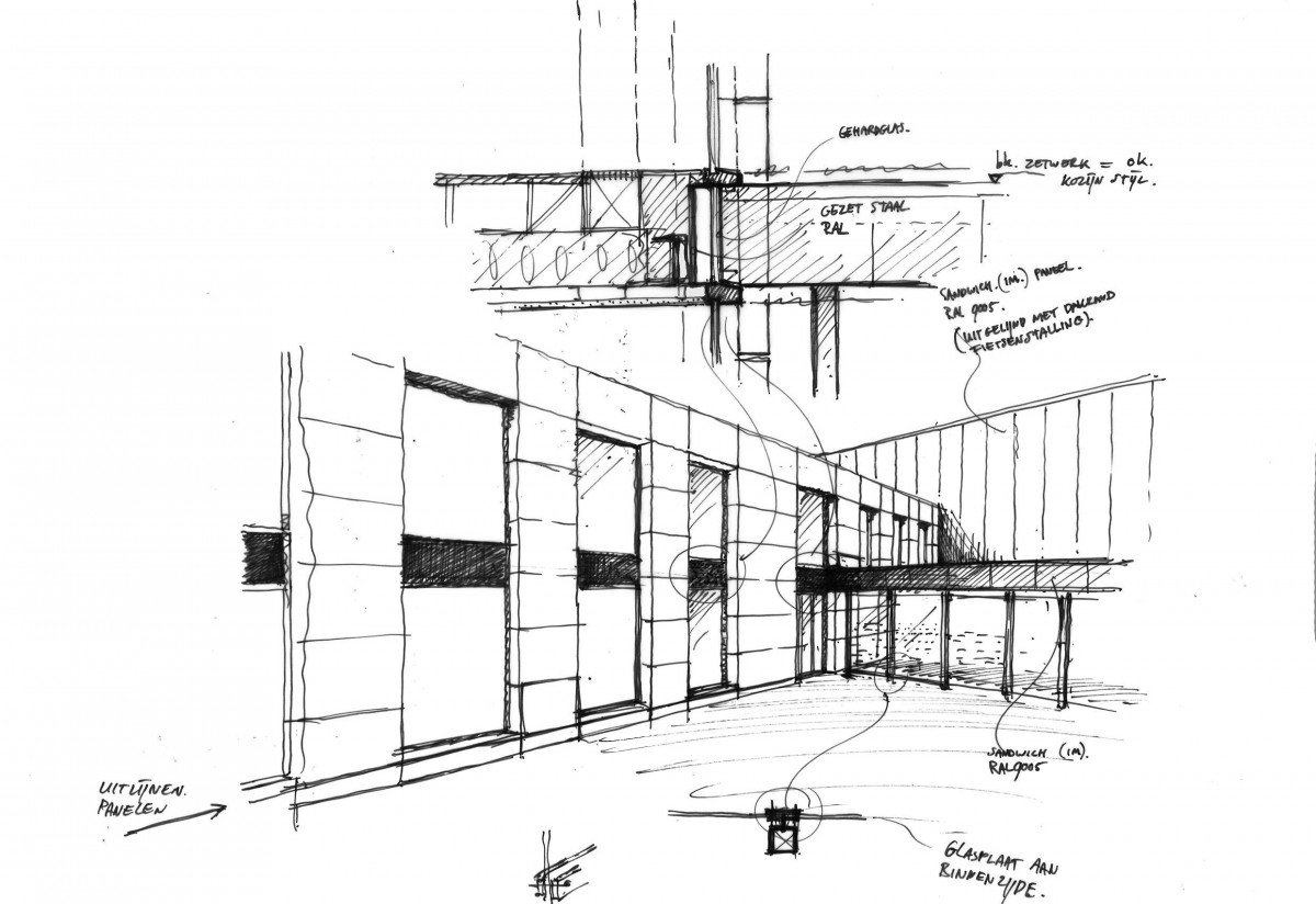 Schets ontwerp productiehal met kantoor Orangeworks oss door Heembouw Architecten