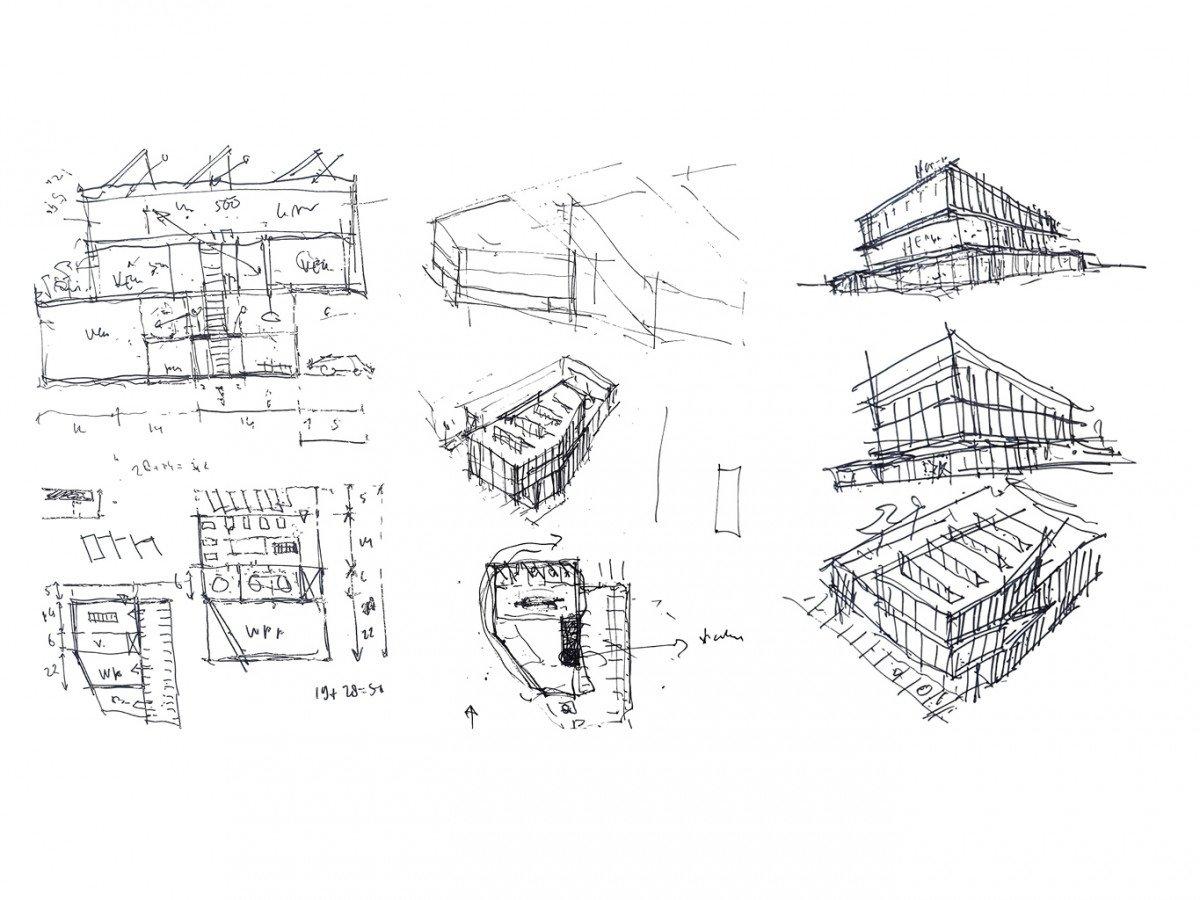 schetsen van ons eigen Heembouw kantoor in Berkel en Rodenrijs. Een circulair kantoor met werkplaats