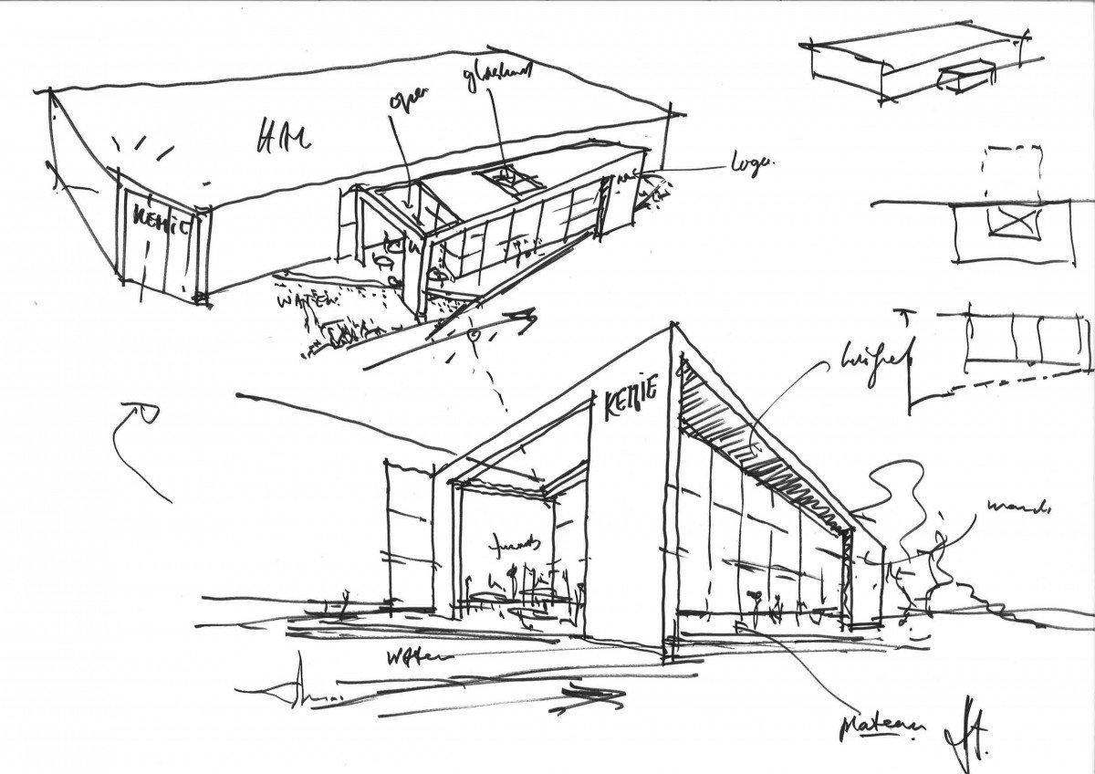 schets ontwerp Heembouw Architecten voor productielocatie en kantoor Kemie Helmond