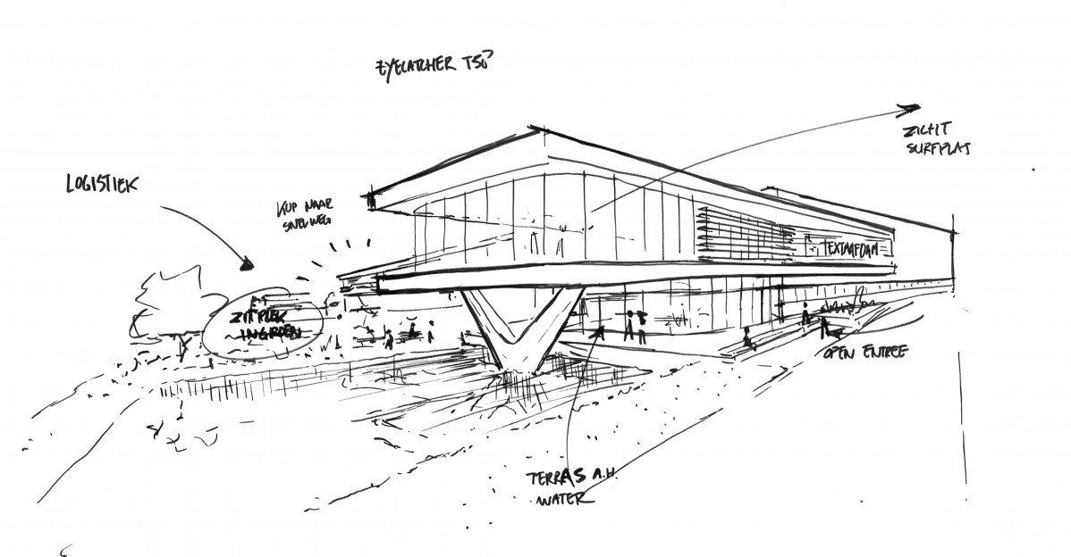 Schets entree detail voor Textaafoam door Heembouw Architecten