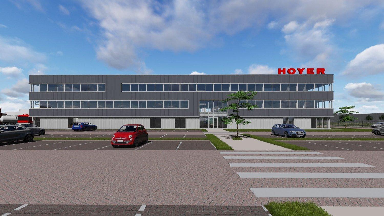 Artist impression Bedrijfscomplex met nieuw hoofdkantoor HOYER Botlek