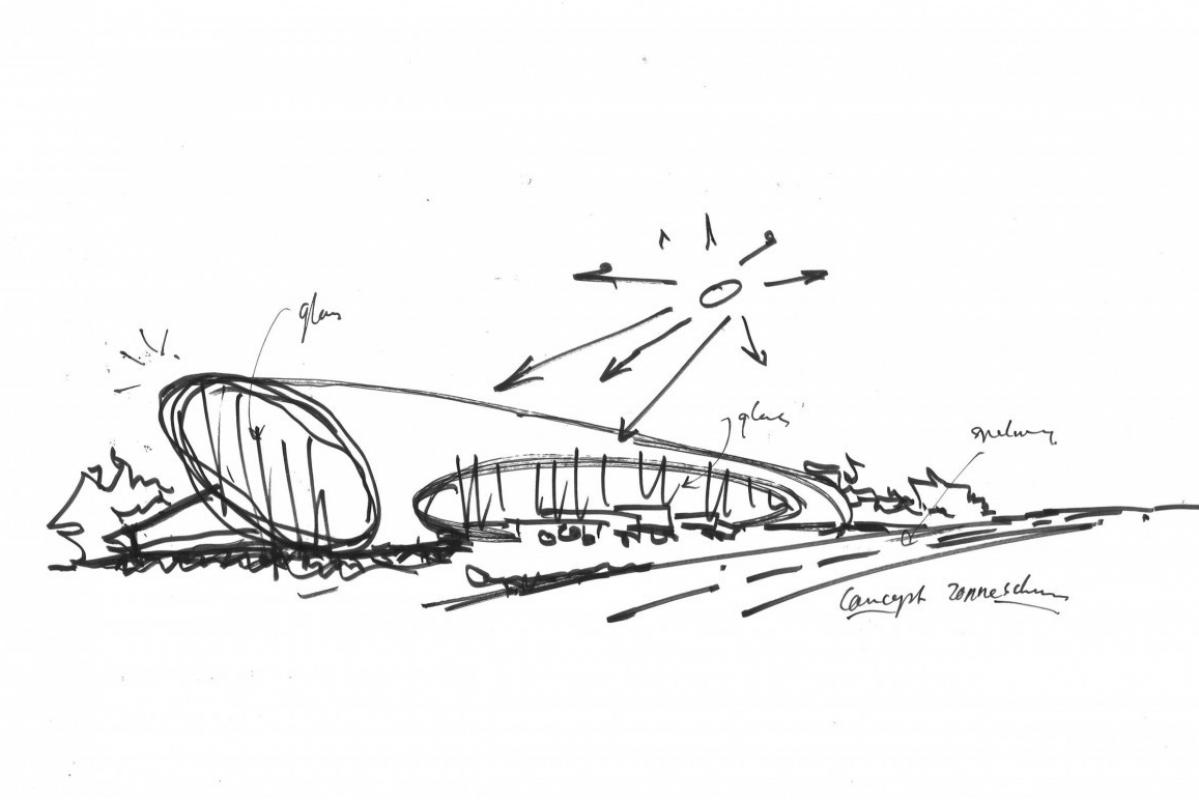 schets door Heembouw Architecten voor duurzaam distributiecentrum met kantoor New Logic 3 in Tilburg